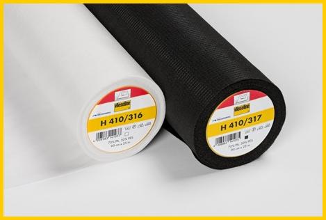 Plakvlieseline H410 met verstevigingsdraad in wit en zwart