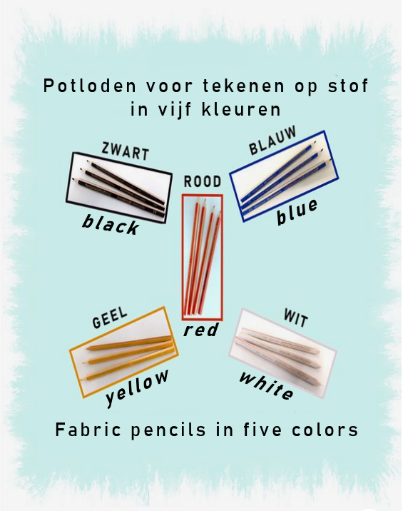Kleermakerspotloden in wit, geel, rood, blauw en zwart